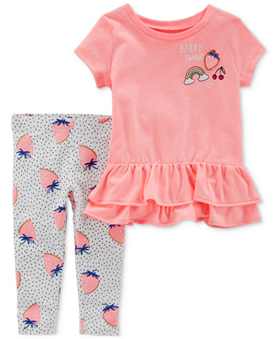 Carter's 2-Pc. Strawberry Graphic-Print Tunic & Leggings Set, Baby Girls