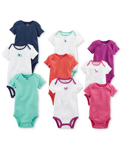 Carter's 9-Pk. Grow With Me Cotton Bodysuits Set, Baby Girls