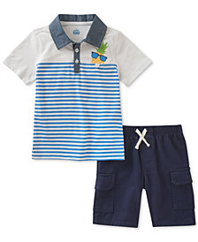 Kids Headquarters Pineapple Polo & Shorts Set, Baby Boys