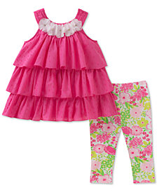 Kids Headquarters 2-Pc. Tiered Ruffle Tunic & Floral-Print Leggings, Baby Girls