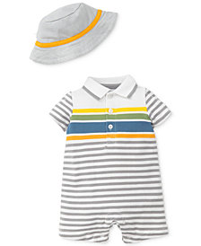 Little Me 2-Pc. Fun Striped Romper & Hat, Baby Boys