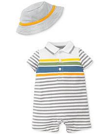 Little Me 2-Pc. Fun Striped Romper & Hat, Baby Boys