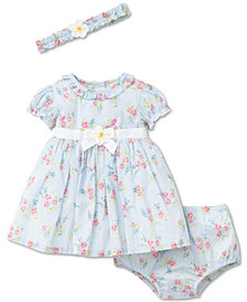 Little Me 2-Pc. Floral-Print Dress & Diaper Cover Set, Baby Girls