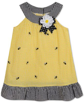 Rare Editions Bumblebee Seersucker Dress Baby Girls