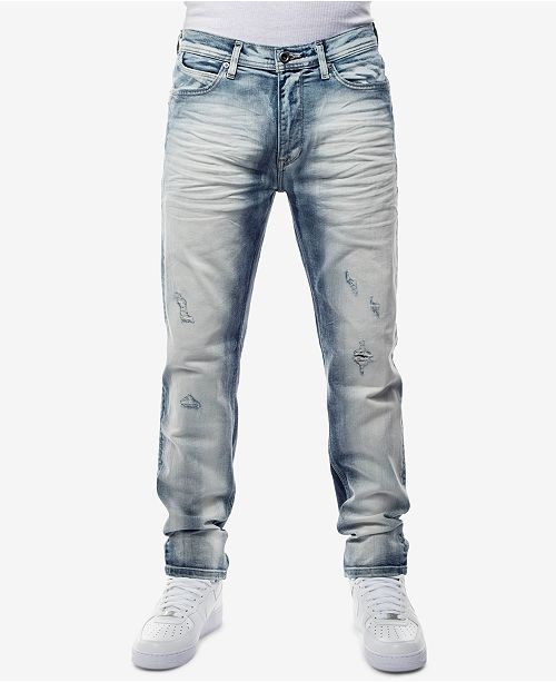 87733469c6b ... Sean John Men's Straight Fit Stretch Heavy Bleached Jeans, Created for  Macy's ...