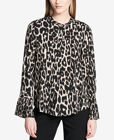 Calvin Klein Animal-Print Bell-Sleeve Blouse