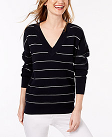 Lacoste Striped Mini Waffle-Knit Sweater