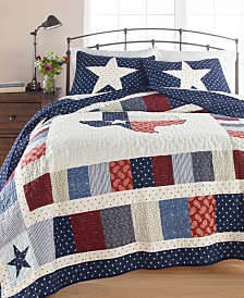 Martha Stewart Collection Texas Patchwork Cotton Quilt and Sham Collection, Created for Macy's