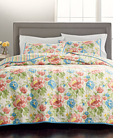 CLOSEOUT! Martha Stewart Collection Savannah Rose Reversible 100% Cotton King Quilt, Created for Macy's