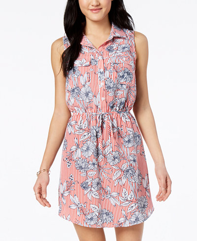 Be Bop Juniors' Printed Button-Front Shirtdress