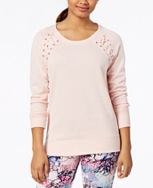 Material Girl Active Juniors' Lace-Up Sweatshirt, Created for Macy's