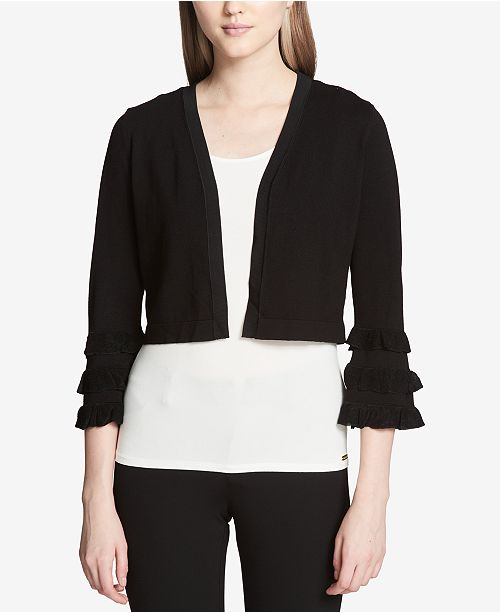 Cropped Tiered-Sleeve Cardigan
