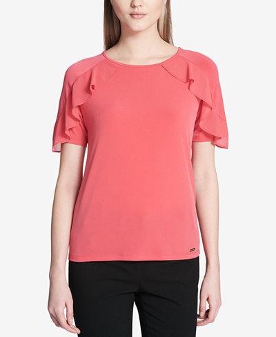 Calvin Klein Ruffled-Trim Top
