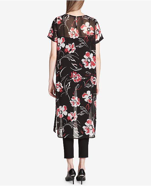 72ea9bd35a7 Calvin Klein Printed Maxi Tunic & Reviews - Tops - Women - Macy's