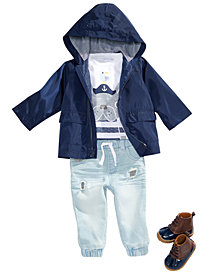 First Impressions Baby Boys Hooded Windbreaker, Graphic-Print Pants & Pants Separates, Created for Macy's