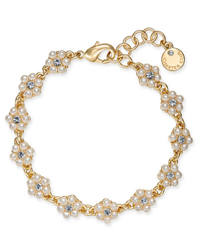 Charter Club Gold-Tone Crystal & Imitation Pearl Flower Link Bracelet, Created for Macy's