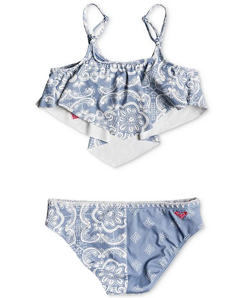 e7cdb3dd00 Roxy 2-Pc. Bandana-Print Flounce-Top Bikini Swimsuit