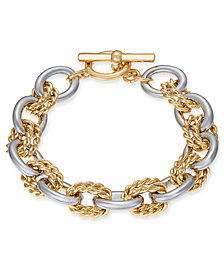 Charter Club Two-Tone Twisted Link Bracelet, Created for Macy's