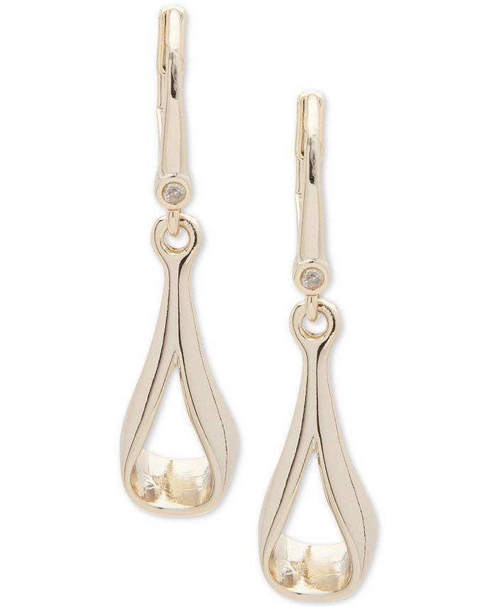 DKNY - Gold-Tone Open Drop Earrings