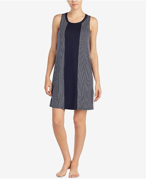 Sleeveless Contrast-Band Chemise