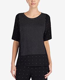 DKNY Contrast-Dots Pajama Top
