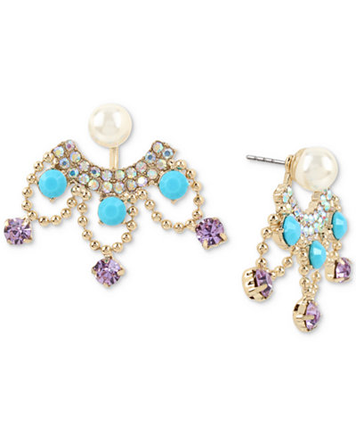 Betsey Johnson Gold-Tone Multi-Stone & Imitation Pearl Front-Back Earrings