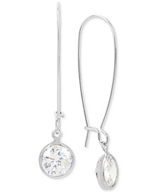 Kenneth Cole New York Silver-Tone Cubic Zirconia Drop Earrings
