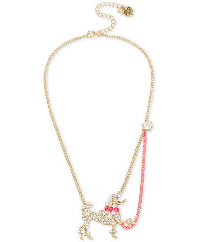Betsey Johnson Two-Tone Crystal & Imitation Pearl Poodle Pendant Necklace