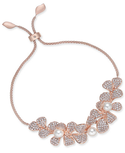 Danori Rose Gold-Tone Imitation Pearl & Crystal Pavé Flower Slider Bracelet, Created for Macy's