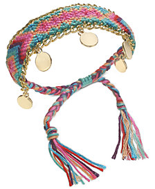 I.N.C. Gold-Tone Multicolor Braided Friendship Bracelet, Created for Macy's