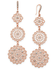 I.N.C. Rose Gold-Tone Filigree Triple Drop Earrings, Created for Macy's