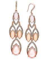I.N.C. Rose Gold-Tone Multi-Stone Chandelier Earrings, Created for Macy's