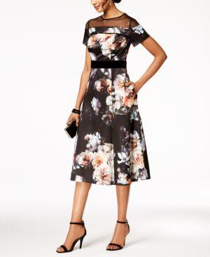Sl Fashions Velvet & Mesh Floral-Print Dress 5424863