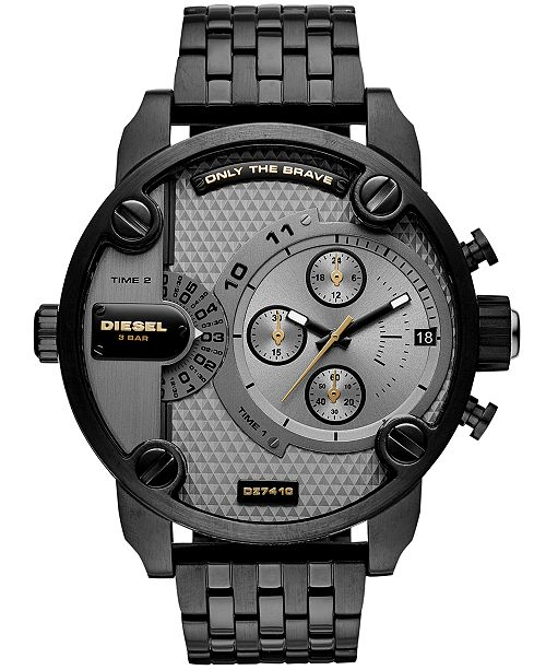 Diesel Men's Chronograph Little Daddy Black Stainless Steel Bracelet Watch 52mm