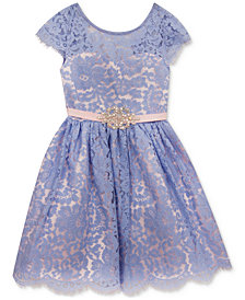 Rare Editions Lace Overlay Dress, Baby Girls