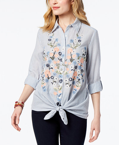 Style & Co Petite Cotton Striped Embroidered Shirt, Created for Macy's