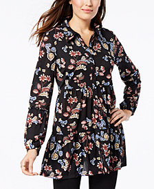 Style & Co Printed Bubble-Sleeve Tunic, Created for Macy's