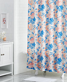 "CLOSEOUT! Martha Stewart Collection Savannah Rose 72"" x 72"" Floral-Print Shower Curtain, Created for Macy's"