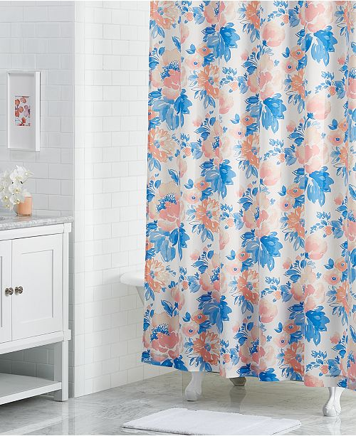 "Martha Stewart Collection LAST ACT! Savannah Rose 72"" x 72"" Floral-Print Shower Curtain, Created for Macy's"