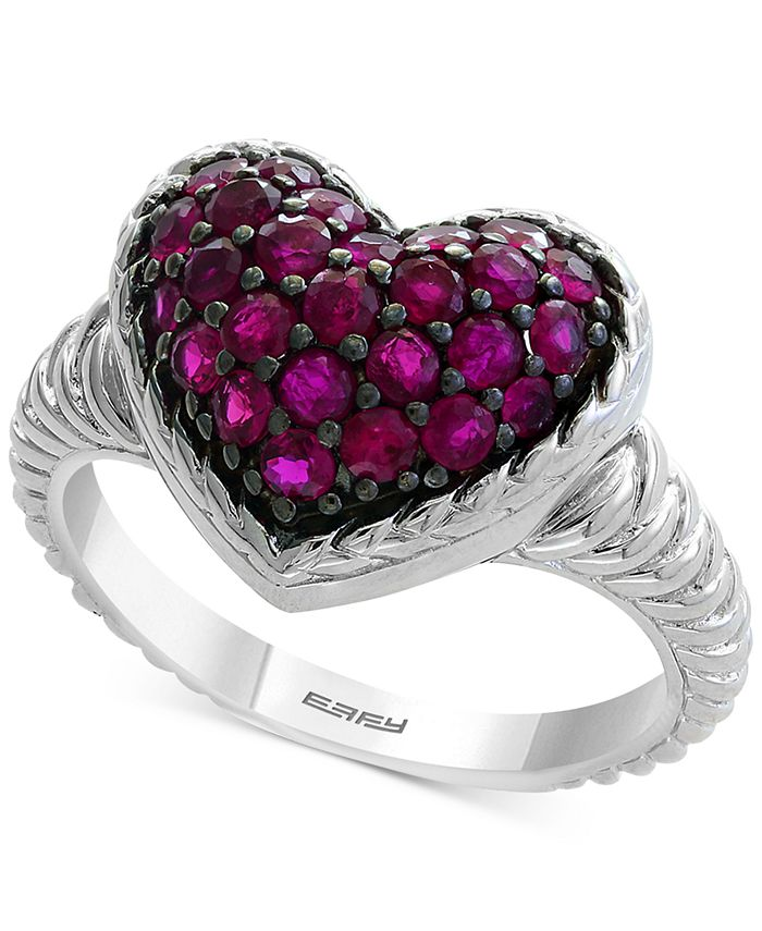 EFFY Collection - Certified Ruby Cluster Heart Ring (1 ct. t.w.) in Sterling Silver
