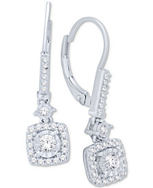 Diamond Cluster Drop Earrings (1/2 ct. t.w.) in 14k White Gold