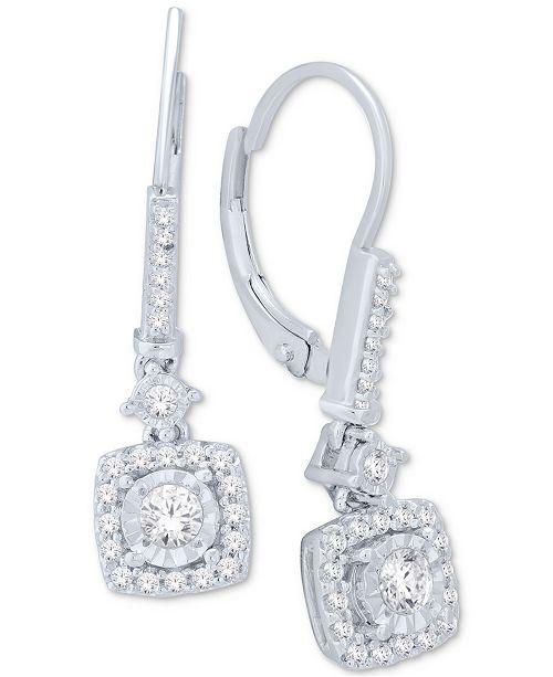 Diamond Cluster Drop Earrings (1/2 ct. t.w.) in 14k White Gold