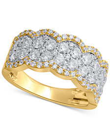 Diamond Scalloped Anniversary Band (1-1/2 ct. t.w.) in 14k Gold