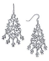 I.N.C. Silver-Tone Crystal Cluster Chandelier Earrings, Created for Macy's