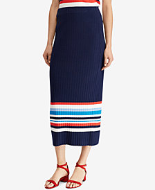 Lauren Ralph Lauren Rib-Knit Striped Skirt