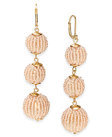 I.N.C. Beaded Sphere Triple Drop Earrings, Created for Macy's
