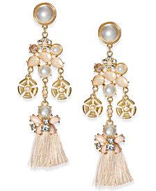 I.N.C. Gold-Tone Imitation Pearl, Stone & Tassel Chandelier Earrings, Created for Macy's