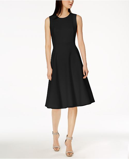 a4b3193db3c Calvin Klein Scuba Midi Fit   Flare Dress   Reviews - Dresses ...