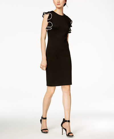 Calvin Klein Embellished-Ruffle Scuba Dress