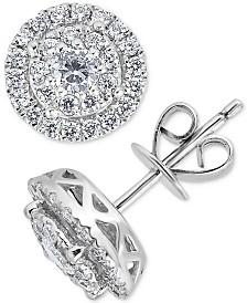 Diamond Double Halo Stud Earrings (1 ct. t.w.) in 14k White Gold